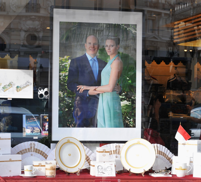 MONACO - JUNE 08:  Official souvenir items for the Monaco royal wedding are on display in a store window on June 8, 2011 in Monaco. Prince Albert II of Monaco and Charlene Wittstock of South Africa will be married in Monaco on July 2, 2011 at the Prince's Palace while the following day a civil ceremony will be held in the Throne Room of the palace.  (Photo by Pascal Le Segretain/Getty Images)