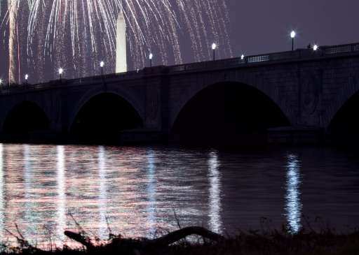 ARLINGTON, VA - JULY 04: A view of fireworks above the Washington Memorial and Memorial Bridge on the National Mall in Washington, DC from along the shore of the Potomac River July 4, 2011 in Arlington, Virginia. The United States celebrated its 235th anniversary of declaring independence from the British Empire.   Brendan Smialowski/Getty Images/AFP== FOR NEWSPAPERS, INTERNET, TELCOS & TELEVISION USE ONLY ==