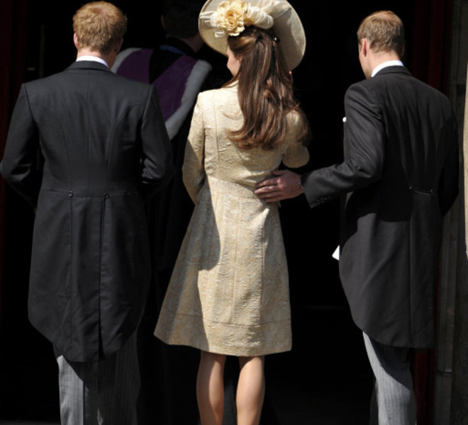 (L to R) Prince Harry, Catherine, Duchess of Cambridge, and Prince William arrive for the wedding between England rugby player Mike Tindall and Zara Phillips, the eldest granddaughter of Britain's Queen Elizabeth II, at Canongate Kirk in Edinburgh, Scotland July 30, 2011. The couple, both world-beating sports stars, tie the knot at Edinburgh's Canongate Kirk in a private ceremony mid-afternoon that has little in common with that of Phillips' cousin, Prince William, when he married the former Kate Middleton three months ago.    AFP PHOTO / DYLAN MARTINEZ/POOL