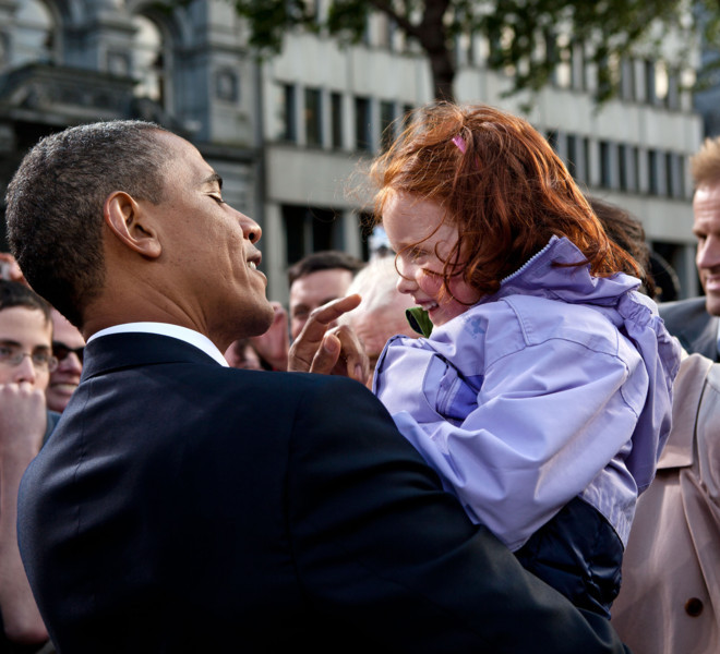 President Barack Obama greets a little girl following his remarks during the Irish celebration at College Green in Dublin, Ireland, May 23, 2011. (Official White House Photo by Pete Souza)