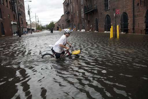 NEW YORK, NY - AUGUST 28: A local resident of Red Hook, Franklin Mount, crosses a flooded street on his bicycle in Red Hook August 28, 2011 in the Brooklyn borough of New York City. While Hurricane Irene has now been downgraded to a tropical storm, it has knocked out power to more than 3 million people and is attributed to 15 deaths as it travels up the Eastern seaboard.   Robert Nickelsberg/Getty Images/AFP== FOR NEWSPAPERS, INTERNET, TELCOS & TELEVISION USE ONLY ==