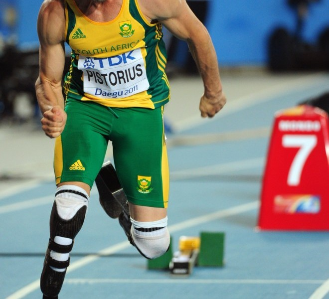 South Africa's Oscar Pistorius competes in the men's 400 metres semi-finals at the International Association of Athletics Federations (IAAF) World Championships in Daegu on August 29, 2011.   AFP PHOTO / MARK RALSTON