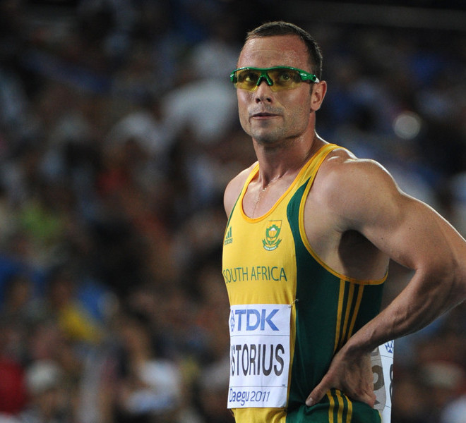 South Africa's Oscar Pistorius reacts after competing in the men's 400 metres semi-finals at the International Association of Athletics Federations (IAAF) World Championships in Daegu on August 29, 2011.  AFP PHOTO / OLIVIER MORIN