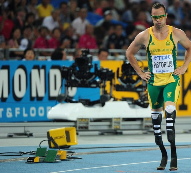 South Africa's Oscar Pistorius reacts after competing in the men's 400 metres semi-finals at the International Association of Athletics Federations (IAAF) World Championships in Daegu on August 29, 2011. AFP PHOTO / MARK RALSTON