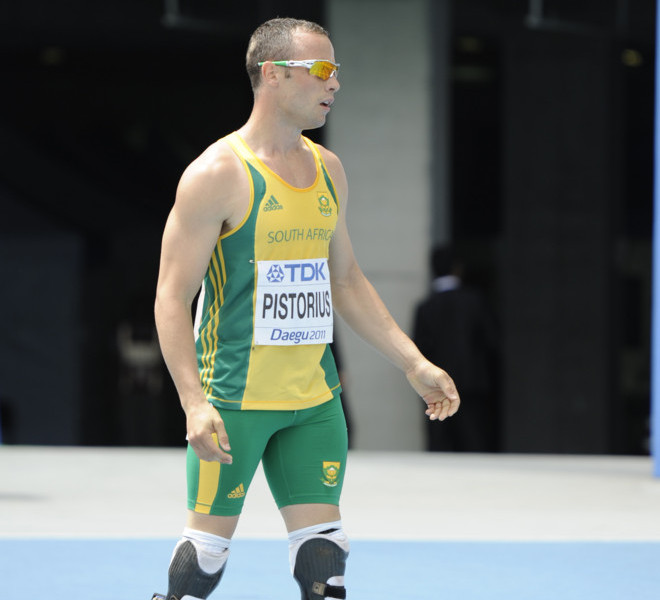 South Africa's Oscar Pistorius stands on the track at the end of his race in the men's 400 metres heats at the International Association of Athletics Federations (IAAF) World Championships in Daegu on August 28, 2011.       AFP PHOTO / PETER PARKS