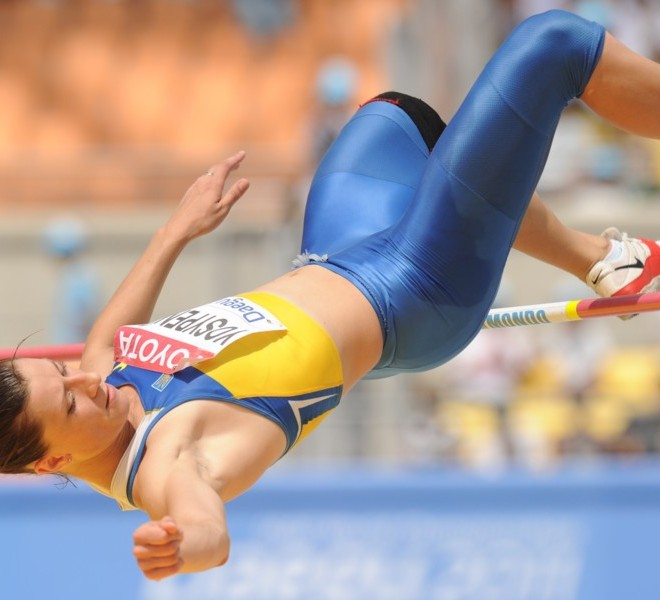 Ukraine's Lyudmyla Yosypenko competes in the high jump of the women's heptathlon event at the International Association of Athletics Federations (IAAF) World Championships in Daegu on August 29, 2011.  AFP PHOTO / PETER PARKS