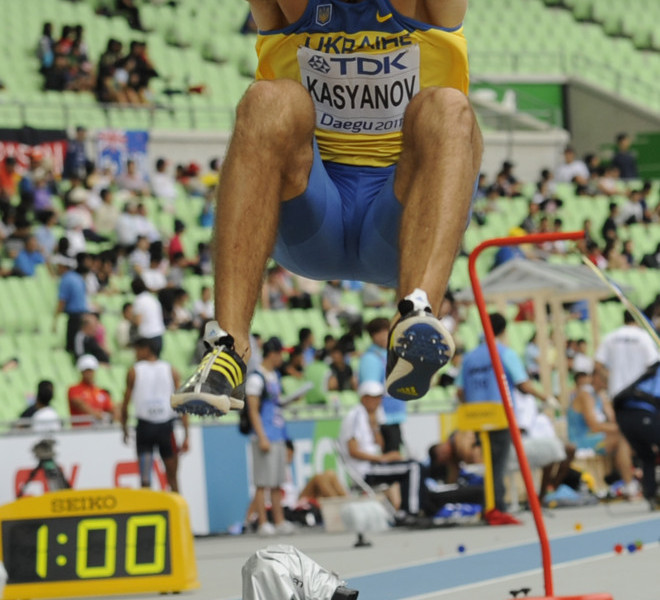 Ukraine's Oleksiy Kasyanov competes in the men's long jump of the decathlon event at the International Association of Athletics Federations (IAAF) World Championships in Daegu on August 27, 2011. AFP PHOTO / PETER PARKS