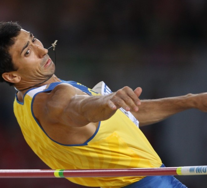 Ukraine's Oleksiy Kasyanov competes in the men's high jump of the decathlon event at the International Association of Athletics Federations (IAAF) World Championships in Daegu on August 27, 2011.  AFP PHOTO / ADRIAN DENNIS