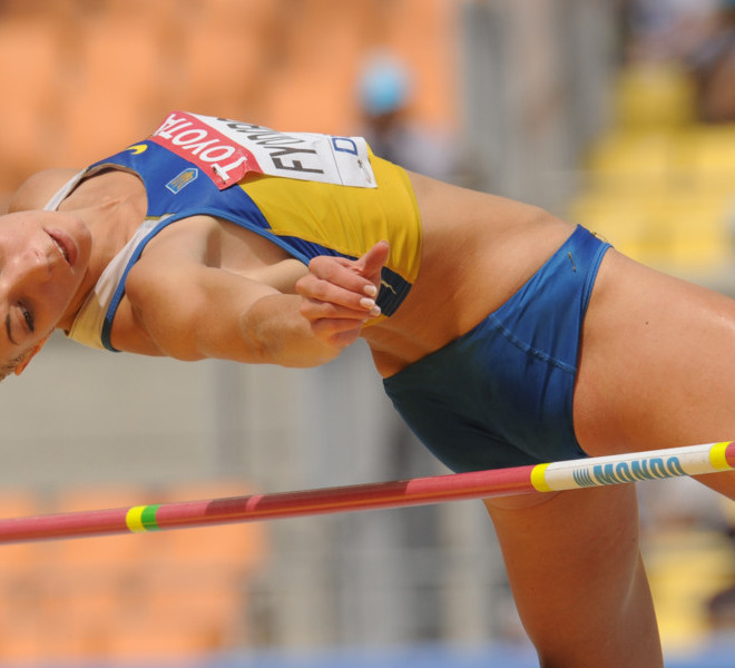 Ukraine's Alina Fyodorova competes in the high jump of the women's heptathlon event at the International Association of Athletics Federations (IAAF) World Championships in Daegu on August 29, 2011.  AFP PHOTO / PETER PARKS