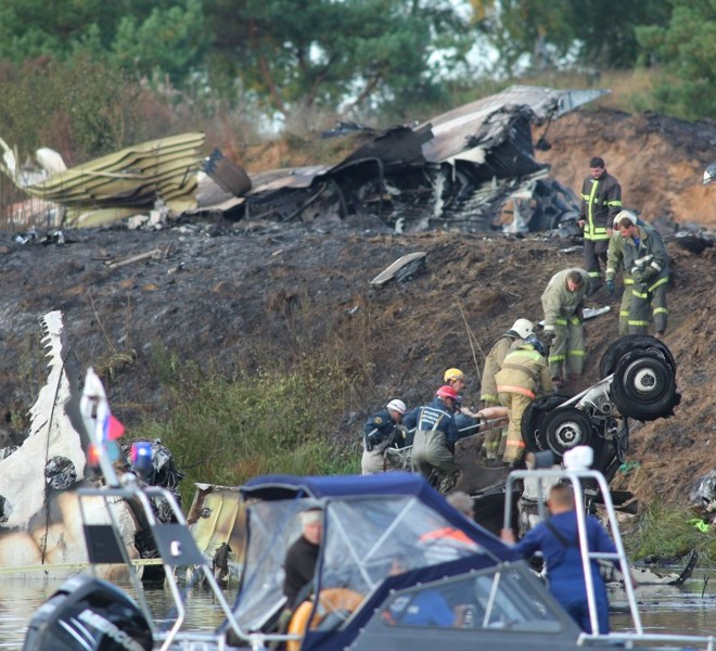 YAROSLAVL REGION, RUSSIA. SEPTEMBER 7. 2011. A view of the crash site of a Yak-42 passenger plane in the Yaroslavl Region. The jet carrying a KHL ice hockey team Lokomotiv crashed here on September 7 killing 36 people. (Photo ITAR-TASS / Vladimir Smirnov)