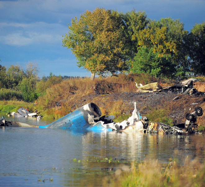 YAROSLAVL REGION, RUSSIA. SEPTEMBER 7. 2011. Pictured here is the crash site of a Yak-42 passenger plane in the Yaroslavl Region. The jet carrying a KHL ice hockey team Lokomotiv crashed here on September 7 killing 36 people. (Photo ITAR-TASS / Vladimir Smirnov) 