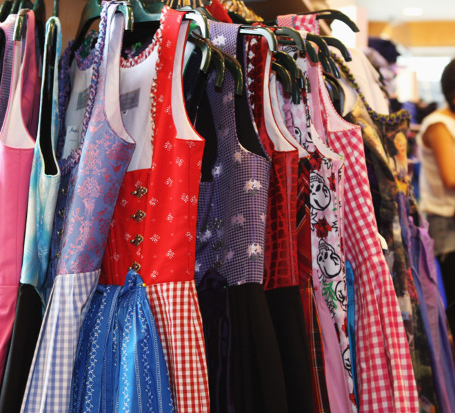 MUNICH, GERMANY - SEPTEMBER 08:  Traditional Bavarian Dirndl dresses are pictured in a shop on September 8, 2011 in Munich, Germany. Dirndl dresses are famous to be worn during the world's biggest beer festival Oktoberfest which will last from September 7 to October 3, 2011 in Munich.  (Photo by Alexandra Beier/Getty Images)