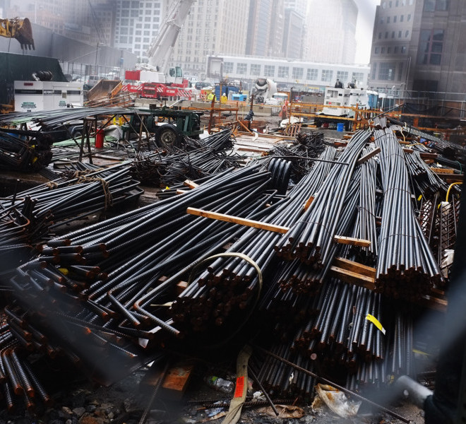 NEW YORK, NY - SEPTEMBER 07:  Steel beams used for construction of the 1 World Trade Center sit on the ground as construction continues at the World Trade Center site on September 7, 2011 in New York City. New York City and the nation are preparing for the 10th anniversary of the terrorist attacks on lower Manhattan which resulted in the deaths of 2,753 people at the World Trade Center.  (Photo by Spencer Platt/Getty Images)
