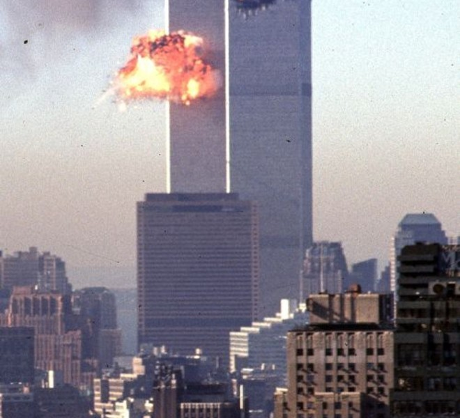 (FILES) This September 11, 2001 file photo shows a hijacked commercial plane crashing into the World Trade Center in New York. September 11, 2011 will mark the tenth anniversary of the attacks in which nearly 3,000 people were killed, 2,753 at the World Trade Center and the others in attacks on the Pentagon and in a hijacked plane that crashed in Pennsylvania.  AFP PHOTO / SETH MCALLISTER / FILES== FOR NEWSPAPERS, INTERNET, TELCOS & TELEVISION USE ONLY ==