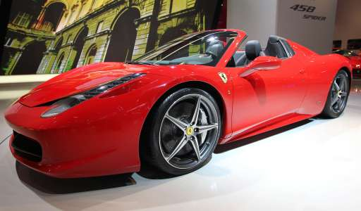 A new Ferrari 458 Spider car is on display at the international motor show IAA (Internationale Automobil-Ausstellung) in Frankfurt/M, western Germany, on September 14, 2011. The world's biggest motor show, the IAA, is running from September 15 to 25, 2011.       AFP PHOTO / DANIEL ROLAND