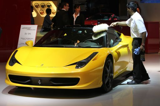 A new Ferrari 458 Italia car is on display at the international motor show IAA (Internationale Automobil-Ausstellung) in Frankfurt/M, western Germany, on September 14, 2011. The world's biggest motor show, the IAA, is running from September 15 to 25, 2011.       AFP PHOTO / DANIEL ROLAND