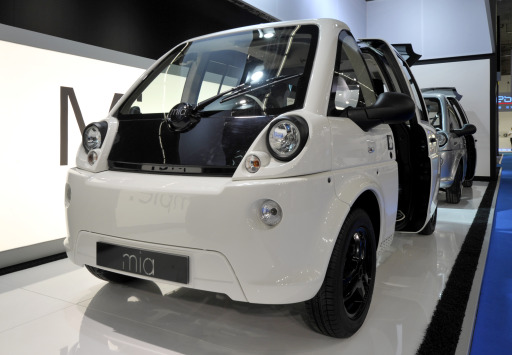 An electric car by Mia, developed by French company Heuliez, is on display at the international motor show IAA (Internationale Automobil-Ausstellung) in Frankfurt/M, western Germany, on September 14, 2011. The world's biggest motor show, the IAA, is running from September 15 to 25, 2011.       AFP PHOTO / THOMAS KIENZLE