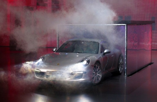 The new Porsche 911 is presented at the international car show Frankfurt am Main, western Germany on September 13, 2011. The world's biggest motor show, the IAA, is running from September 15 to 25, 2011.  AFP PHOTO  /  CHRISTOPH WALTER   GERMANY OUT