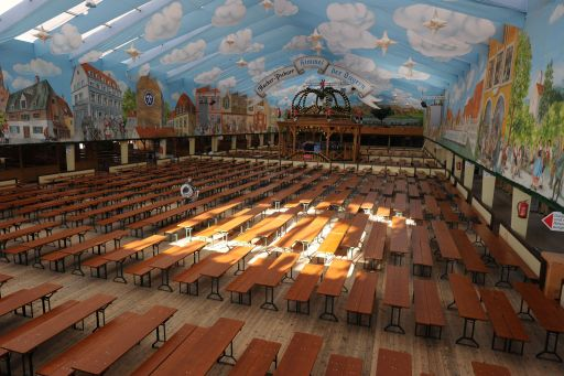Picture shows a empty Oktoberfest beer festival tent at the Theresienwiese in Munich, southern Germany, on September 16, 2011. This year's edition of the world's biggest beer festival Oktoberfest will open on September 17 and run until October 3, 2011. AFP PHOTO / CHRISTOF STACHE