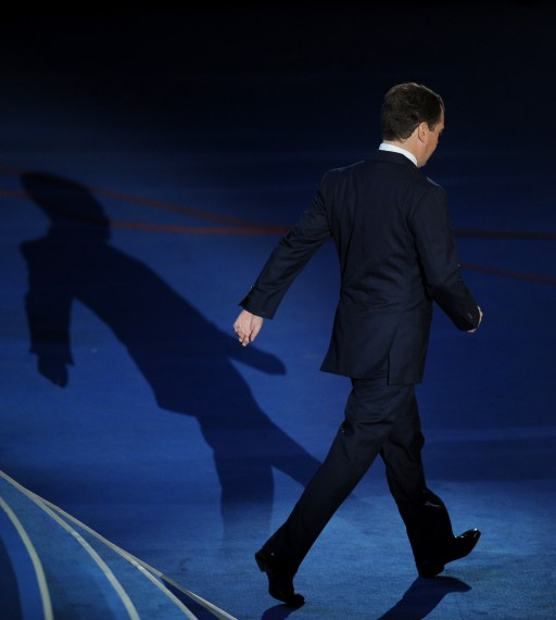 "Russia's President Dmitry Medvedev leaves the podium at a congress of the United Russia ruling party in Moscow, on September 24, 2011. Prime Minister Vladimir Putin accepted today a proposal by Medvedev to stand for Russian president in 2012 polls, saying it was a ""great honour"".  AFP PHOTO / NATALIA KOLESNIKOVA"