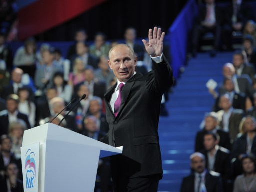 "Russia's Prime Minister Vladimir Putin speaks at the congress of Russia's ruling party in Moscow, on September 24, 2011. Putin accepted today a proposal by President Dmitry Medvedev  to stand for Russian president in 2012 polls, saying it was a ""great honour"".AFP PHOTO/ RIA-NOVOSTI/ ALEXEY DRUZHININ"