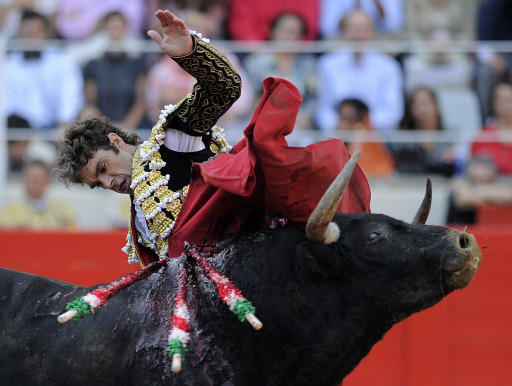 Spanish bullfighter Jose Tomas performs a pass on a bull on September 25, 2011 in Barcelona's Monumental arena for the last time today before a ban against the centuries-old blood sport comes into effect in Spain's northeastern Catalonia region. AFP PHOTO/ LLUIS GENE.