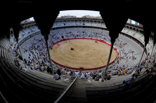 (FILES) File picture taken on August 1, 2010 showing a general view of the Plaza Monumental bullring in Barcelona. The last corrida of the season and also the last one in Catalonia will take place on September 25, 2011 at the bullring before the ban on bullfighting voted by Catalonia's parliament voted last July takes effect on January 1, 2012.  AFP PHOTO/JOSEP LAGO