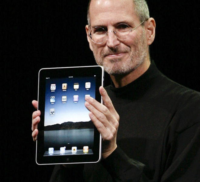 "(FILES): This January 27, 2010 file photo shows Apple Inc. CEO Steve Jobs announcing the new iPad during an Apple Special Event at Yerba Buena Center for the Arts San Francisco. Apple on Wednesday, October 5, 2011 announced the death of its visionary co-founder Steve Jobs. ""We are deeply saddened to announce that Steve Jobs passed away today,"" the company's board of directors said in a statement. ""Steve's brilliance, passion and energy were the source of countless innovations that enrich and improve all of our lives. The world is immeasurably better because of Steve.""           AFP PHOTO / Files / Ryan ANSON"