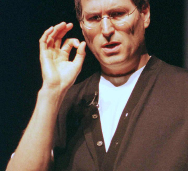 "(FILES): This August 6, 1997 file photo shows Apple co-founder Steve Jobs speaking at the Macworld Expo in Boston, Massachusetts. Apple on Wednesday, October 5, 2011 announced the death of its visionary co-founder Steve Jobs. ""We are deeply saddened to announce that Steve Jobs passed away today,"" the company's board of directors said in a statement. ""Steve's brilliance, passion and energy were the source of countless innovations that enrich and improve all of our lives. The world is immeasurably better because of Steve.""              AFP PHOTO / Files / John MOTTERN"