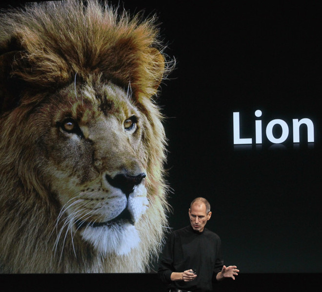 CUPERTINO, CA - OCTOBER 20:  Apple CEO Steve Jobs announces the new OSX Lion operating system as he speaks during an Apple special event at the company's headquarters on October 20, 2010 in Cupertino, California. Jobs announced the new OSX Lion operating system for Mac computers Mac computers, iLife 11 and MacBook Air in 13 inch and 11.6 inch models.  (Photo by Justin Sullivan/Getty Images)