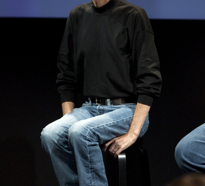 CUPERTINO, CA - JULY 16:  Steve Jobs, CEO of Apple Computer Inc., answers questions at a press conference regarding the Apple iPhone 4 reception problems at the Apple headquarters July 16, 2010 in Cupertino, California. Jobs announced that Apple will provide customers with cases at no additional cost to help solve the reception problems and refund customers who have already bought the apple bumpers until September 30, 2010. (Photo by David Paul Morris/Getty Images)