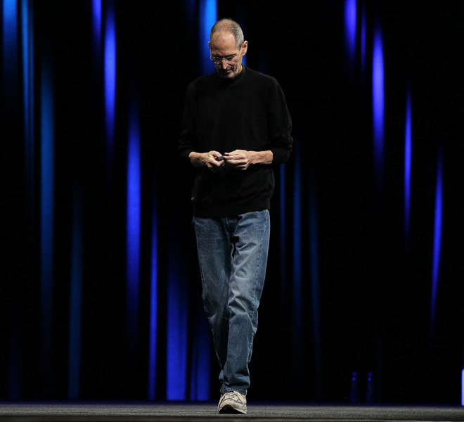 SAN FRANCISCO, CA - JUNE 06:  Apple CEO Steve Jobs delivers the keynote address at the 2011 Apple World Wide Developers Conference at the Moscone Center on June 6, 2011 in San Francisco, California. Apple CEO Steve Jobs returned from sick leave to introduce Apple's new iCloud storage system and the next versions of Apple's iOS and Mac OSX.  (Photo by Justin Sullivan/Getty Images)