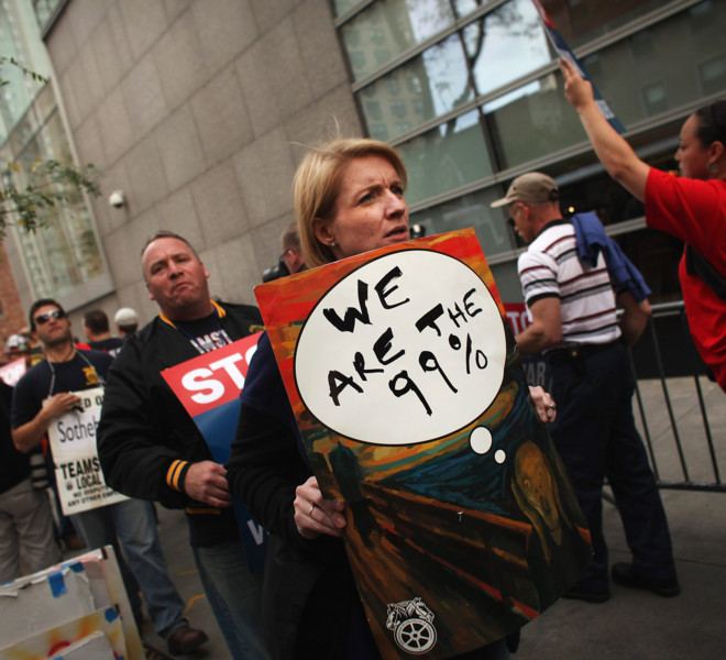 NEW YORK, NY - OCTOBER 18:  Members of the Occupy Wall Street community join Teamsters in front of the auction house Sotheby's to protest the lockout of union art handlers in a contract dispute on October 18, 2011 in New York City. The activists who make up Occupy Wall Street have been gradually converging on the financial district over the past month to rally against the influence of corporate money in politics among a host of other issues. The protests, which have no stated demands, have spread to other cities and a number of countries over the last week leading to hundreds of arrests as world leaders and police anticipate their next move.  (Photo by Spencer Platt/Getty Images)