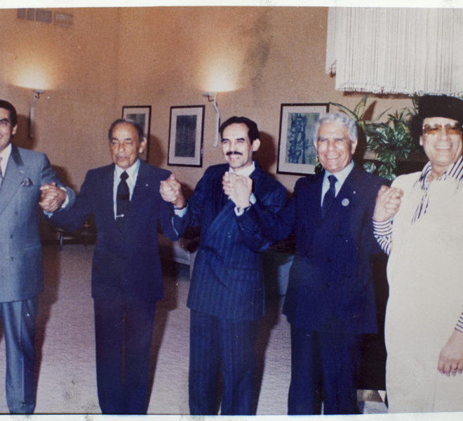 From left: Zine el-Abidine Ben Ali of Tunisia, Hassan II of Morocco, Maaouya Ould Sid'Ahmed Taya of Mauritania and Chadli Bendjedid of Algeria with Col. Moammar Gadhafi in an undated photo from a collection of photos taken from Gadhafi's home. (Tyler Hicks/The New York Times)