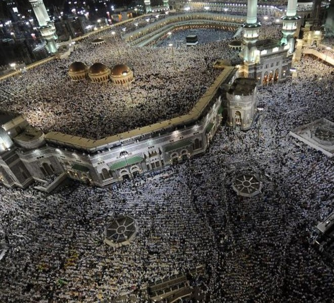 Tens of thousands of Muslim piligrims perform the evening prayer in the holy city's Grand Mosque on November 2, 2011. Mecca is already awash with pilgrims who have arrived from around the world for this year's hajj, whose rites begin on November 4. AFP PHOTO/FAYEZ NURELDINE