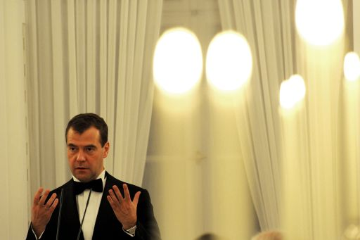 Russian President Dmitry Medvedev makes a speech during an official state dinner hosted by German President Christian Wulff at Bellevue palace in Berlin on November 8, 2011. Medvedev inaugurated the Nord Stream pipeline pumping Russian gas to Western Europe in the northern German city of Lubmin with German Chancellor Angela Merkel earlier in the day. When fully operational in late 2012, Nord Stream's two lines will have the capacity to transport 55 billion cubic metres of Russian gas a year to the EU for at least 50 years. AFP PHOTO / JOHANNES EISELE