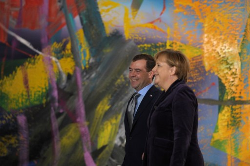 German Chancellor Angela Merkel (R) and Russian President Dmitry Medvedev arrive to address a press conference at the Chancellery in Berlin on November 8, 2011. Medvedev and Merkel inaugurated the Nord Stream pipeline pumping Russian gas to Western Europe in the northern German city of Lubmin earlier in the day. When fully operational in late 2012, Nord Stream's two lines will have the capacity to transport 55 billion cubic metres of Russian gas a year to the EU for at least 50 years. AFP PHOTO / JOHANNES EISELE