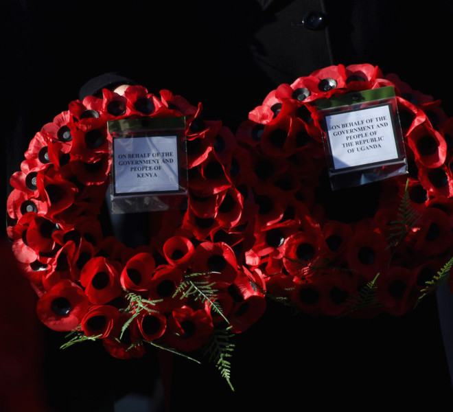 LONDON, UNITED KINGDOM - NOVEMBER 13: General view of service men holding poppy wreaths at the Remembrance Day Ceremony at the Cenotaph on November 13, 2011 in London, United Kingdom.  (Photo by Danny Martindale/Getty Images)