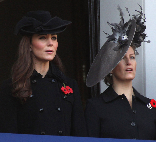 LONDON, UNITED KINGDOM - NOVEMBER 13:  Catherine, Duchess of Cambridge and Sophie, Countess of Wessex attend the Remembrance Day Ceremony at the Cenotaph on November 13, 2011 in London, United Kingdom.  (Photo by Danny Martindale/Getty Images)