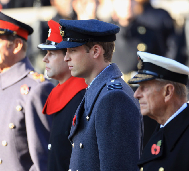 LONDON, UNITED KINGDOM - NOVEMBER 13:  Prince William, Duke of Cambridge looks on during the Remembrance Day Ceremony at the Cenotaph on November 13, 2011 in London, United Kingdom. Politicians and Royalty joined the rest of the county in honouring the war dead by gathering at the iconic memorial to lay wreaths and observe two minutes silence.  (Photo by Chris Jackson/Getty Images)