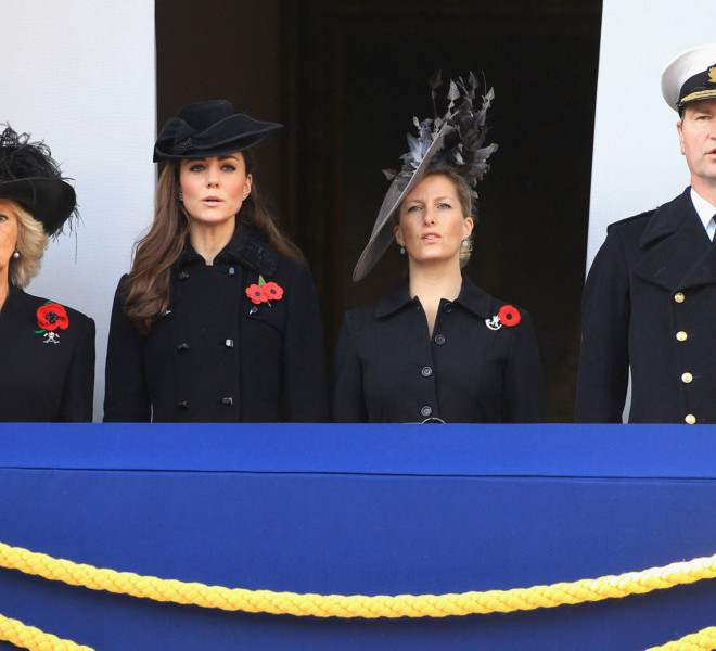 LONDON, UNITED KINGDOM - NOVEMBER 13:  (L-R) Camilla, Duchess of Cornwall, Catherine, Duchess of Cambridge, Sophie, Countess of Wessex and Tim Laurence look on during the Remembrance Day Ceremony at the Cenotaph on November 13, 2011 in London, United Kingdom. Politicians and Royalty joined the rest of the county in honouring the war dead by gathering at the iconic memorial to lay wreaths and observe two minutes silence.  (Photo by Chris Jackson/Getty Images)