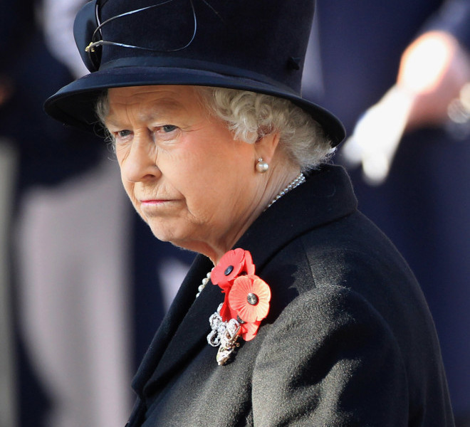 LONDON, UNITED KINGDOM - NOVEMBER 13:  Queen Elizabeth II arrives for the Remembrance Day Ceremony at the Cenotaph on November 13, 2011 in London, United Kingdom. Politicians and Royalty joined the rest of the county in honouring the war dead by gathering at the iconic memorial to lay wreaths and observe two minutes silence.  (Photo by Chris Jackson/Getty Images)