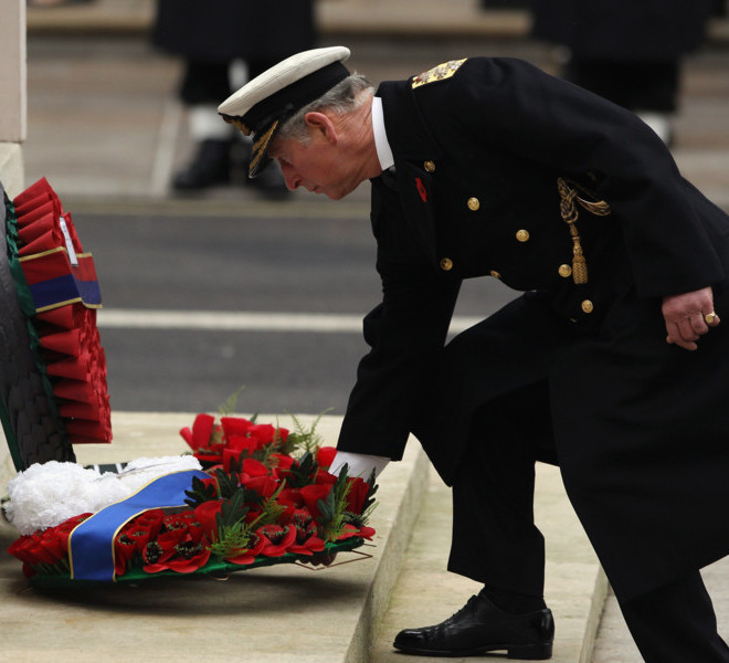 LONDON, ENGLAND - NOVEMBER 14: Prince Charles, Prince of Wales lays a wreath at the Cenotaph during Remembrance Sunday in Whitehall, on November 14, 2010 in London, England. Remembrance Sunday tributes were carried out across the nation to pay respects to all who those who lost their lives in current and past conflicts, including the First and Second World Wars.  (Photo by Dan Kitwood/Getty Images)
