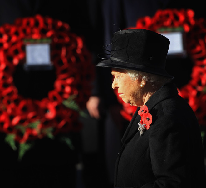 UNSPECIFIED, UNITED KINGDOM - NOVEMBER 13:  Queen Elizabeth II attends the Remembrance Day Ceremony at the Cenotaph on November 13, 2011 in London, United Kingdom. Politicians and Royalty joined the rest of the county in honouring the war dead by gathering at the iconic memorial to lay wreaths and observe two minutes silence.  (Photo by Chris Jackson/Getty Images)