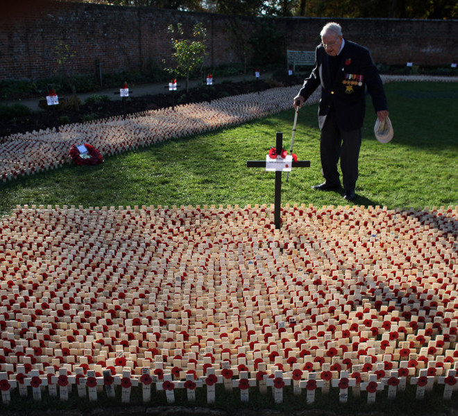 ROYAL WOOTTON BASSETT, UNITED KINGDOM - NOVEMBER 13:  Stanley Yarnworth, 86, looks at crosses left in the Garden of Remembrance on November 13, 2011 in Royal Wootton Bassett, England. Across the country people have been honouring the war dead by gathering at memorials to lay wreaths and observe two minutes silence.  (Photo by Matt Cardy/Getty Images)
