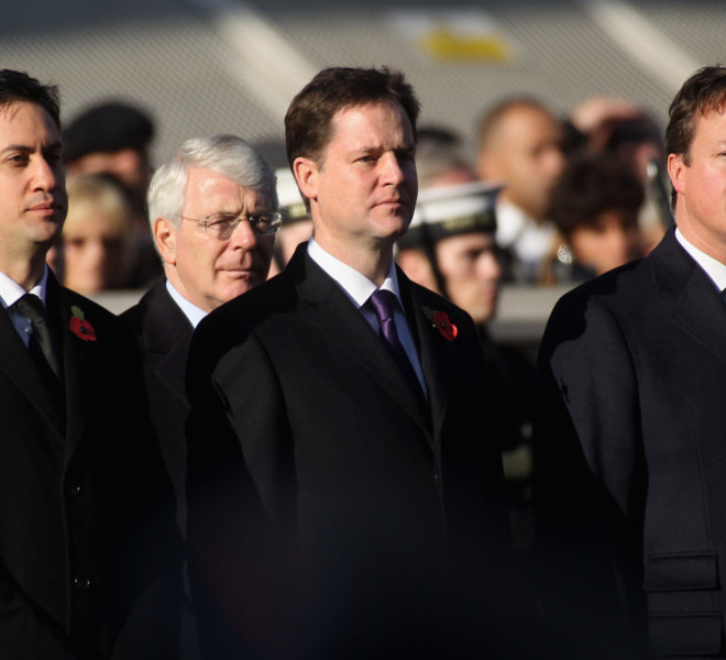 LONDON, UNITED KINGDOM - NOVEMBER 13: (L-R) Ed Miliband, Nick Clegg and David Cameron attend the Remembrance Day Ceremony at the Cenotaph on November 13, 2011 in London, United Kingdom.  Politicians and Royalty joined the rest of the county in honouring the war dead by gathering at the iconic memorial to lay wreaths and observe two minutes silence. (Photo by Danny Martindale/Getty Images)