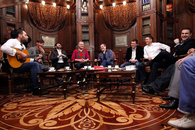 Dmitry Medvedev meets Comedy Club project participants.