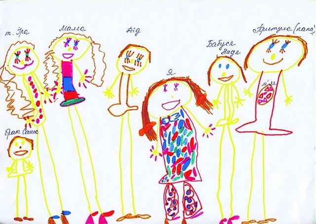 Как ребенок рисует семью рисунки