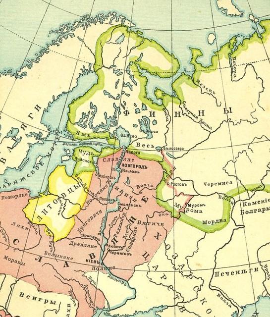 Для гимназистов. Карта из учебника истории М. Острогорского 1915 г.