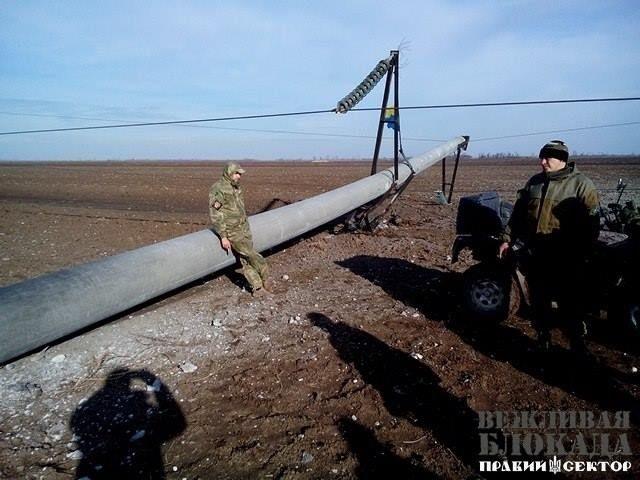 «Правый сектор» решил «охранять» поврежденные ЛЭП отремонтников